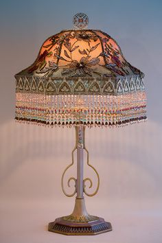 Gothic Bell Victorian Lampshade With Beads And Edwardian Fabrics