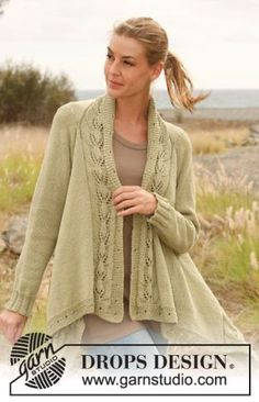 """Timeless Grace - Knitted DROPS jacket worked sideways with lace pattern in """"Muskat"""". Size: S - XXXL - Free pattern by DROPS Design Sweater Knitting Patterns, Lace Knitting, Knitting Stitches, Knit Patterns, Moda Crochet, Knit Or Crochet, Drops Design, Knit Jacket, Crochet Clothes"""