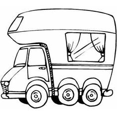 free happy camper coloring pages   Whimsical Class C Motorhome   Art   Motorhome, Camper ...