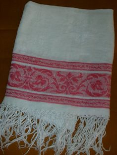 Vintage Linen Towel Red and Cream by banglezBeadz on Etsy, $21.00