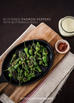 Blistered Padrón Peppers with Buttermilk Aioli | www.kitchenconfidante.com