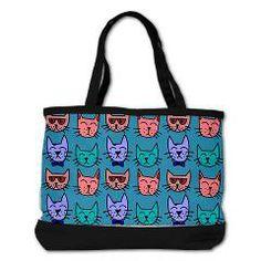 Cat faces on blue Shoulder Bag> Cat faces on blue> Crazy Cat People