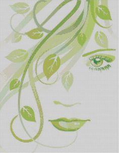 point de croix visage de femme et feuilles dans les cheveux - cross stitch woman's face & leaves in hair