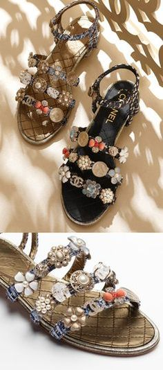 Sandals Summer Chanel resort 2016 / 2017 embellished sandals Spring Summer Sandals chanel - There is nothing more comfortable and cool to wear on your feet during the heat season than some flat sandals. Chanel 2015, Spring Sandals, Summer Shoes, Moda Chanel, Chanel Resort, Chanel Shoes, Chanel Sandals, Chanel Slippers, Chanel Chanel