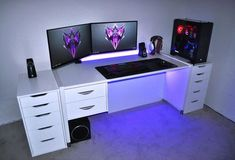 ultimate RGB PC gaming setup with alex drawer.- ultimate RGB PC gaming setup with alex drawers ultimate RGB PC gaming setup with alex drawers - Gaming Desk Setup, Gaming Computer Desk, Best Gaming Setup, Gamer Setup, Pc Setup, Computer Technology, Cool Stuff, Diy Kallax, Tour Pc
