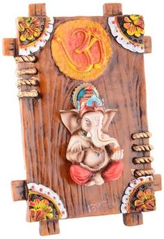 Marble Dust Multicolour Ganesh For Wall Hanging God Idols & Statues on Shimply.com