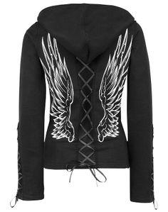 Poizen Industries Angel Wings Hoodie Jumper Warm Hoody Corset Black