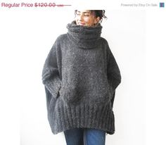 ON SALE Dark Gray Hand Knitted Sweater with Accordion Hood by afra