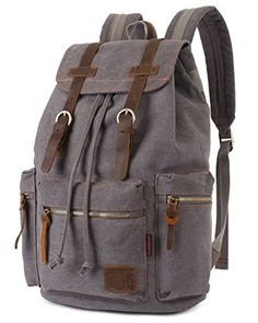 56d1f83dd Backpack Type: Canvas & Genuine Leather Backpack * Carrying  System:Physiological Curve Back * Closure Type: Zipper & Hasp * Capacity:  Litre * Gender: Unisex ...