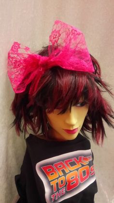 90cc28eeb0e Details about Pink Lace Scarf Headband Bow 1980s Fancy Dress Accessory  Dance Fame Madonna
