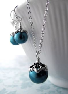 Aqua Glass Pearl Pendant Necklace with Sterling Silver by ShySiren, $38.00