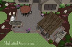 Large Brick Patio Design With Outdoor Fireplace, 12 X 16 Cedar Pergola And  Grill Station