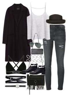 """""""Inspired outfit for college"""" by pagesbyhayley ❤ liked on Polyvore featuring Current/Elliott, Zara, MANGO, Topshop, ASOS, Rebecca Minkoff, T By Alexander Wang, Banana Republic, Ray-Ban and Valentine Goods"""