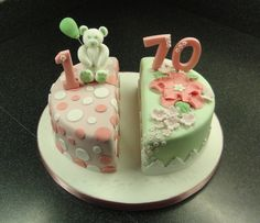 joint birthday cake. Great idea! Maybe aqua/white/red on boy side @ aqua/white/lavender on girl side?