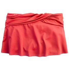 J.Crew Ruched skirt ($35) ❤ liked on Polyvore featuring swimwear, swimsuit bikini, bikini swim suit, swim skirt, ruched bikini bottoms and scrunch bikini bottoms