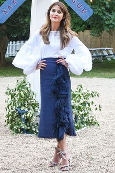 6a7cb5bca3 Keri Russell wore the perfect denim summer skirt with a statement white  blouse. Fall Jackets