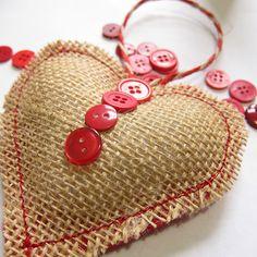 Advent Calendar Project - Week 21 by katbaro, via Flickr heart burlap stitched ornament