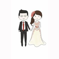 Couple Custom Illustration Save the Date In Chibi/ Cartoon Style by MerryDoodle