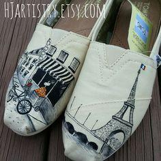 894b5a2302 Paris Toms or Vans or Converse. Custom Painted Paris Themed Toms