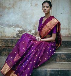 Excited to share this item from my shop: pure chanderi indian katan silk purple gold butti sarees artisan handweave vintage sari blouse for women's wear handloom saree nakshi border Chanderi Silk Saree, Organza Saree, Kanchipuram Saree, Ikkat Saree, Pure Silk Sarees, Purple Saree, Indian Photoshoot, Sari Blouse Designs, Indian Sarees