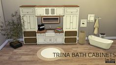 TRINA BATHROOM CABINETS S3 TO S4SET INCLUDESSink UnitTall CabinetWall CabinetAll converted from sims 3 and retextured by me.Mesh by Irina StarDOWNLOAD