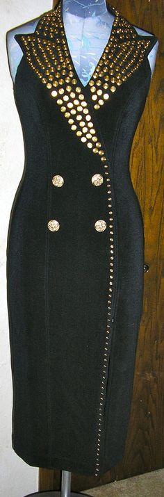 vtg 80s Tadashi black studded cocktail dress by ChloeandNatalieVtg, $175.00