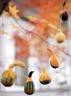 Outdoor autumn halloween fall garlands--how fun! Thanksgiving Crafts For Kids, Thanksgiving Decorations, Fall Crafts, Thanksgiving Celebration, Nature Crafts, Kid Crafts, Seasonal Decor, Outdoor Halloween, Fall Halloween