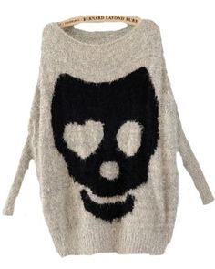 grey batwing long sleeve skull print pullover sweater