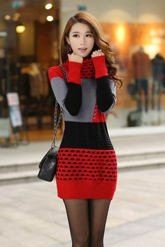 Turtleneck Long Sleeve Sweater Dress Woman Winter Dress 2016 Knitted Dress Turtleneck Long Sleeve Women Sweater Dress Sweaters and Pullovers Plus Size Women Clothing Sweater Fashion, Sweater Outfits, Casual Outfits, Fashion Outfits, Fashion Women, Outfits 2016, Fashion Fashion, Dress Outfits, Fashion Ideas