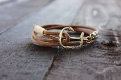 Leather Anchor Bracelet with Natural Brown Soft by RUSTICBRAND, $25.00