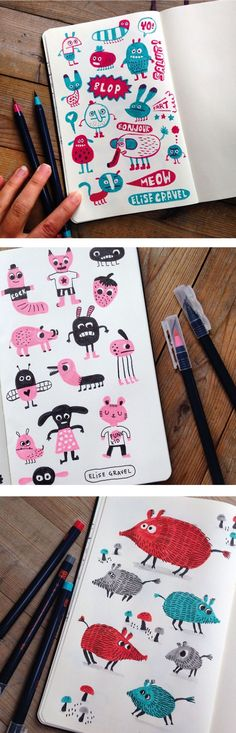 Elise Gravel illustration • sketchbook • doodles • 2 colors • fun • drawing • art • boar •