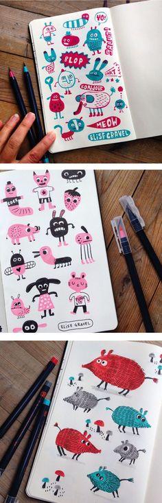 Elise Gravel illustration • sketchbook • doodles • 2 colors • fun • drawing • art • boar •