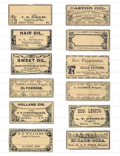 Digital Download Collage Sheet Antique 1800's Vintage Druggists Apothecary Pharmacy Labels 10 (114)