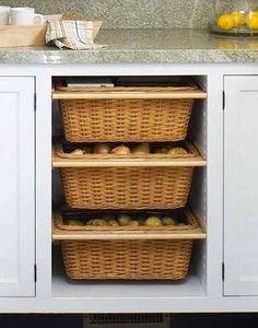 Basket Drawer   Type Casting Stock ingredients like onions and potatoes require specific storage conditions; they do well in dark areas but still need air circulation. A cabinet outfitted with removable baskets delivers bespoke storage for keeping staples fresh.
