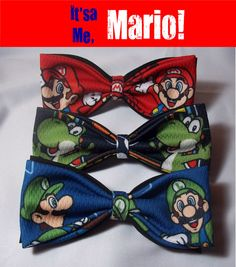 VERY COOL Bow Ties Made From Mario Yoshi and Luigi by TieGame, $15.88  Groomsmen should totally wear haha