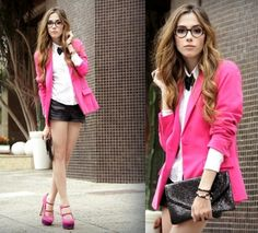 Pink + geek glasses + bow tie= adorable!