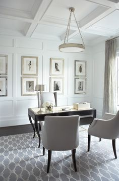 Accent Pure White (SW 7005) walls with classic accent pieces and custom artwork.
