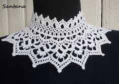 Pretty Image of Crochet Collar Pattern Crochet Collar Pattern, Col Crochet, Crochet Lace Collar, Crochet Cape, Crochet World, Crochet Scarves, Irish Crochet, Crochet Clothes, Crochet Patterns