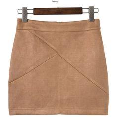 SheIn(sheinside) Khaki Zipper Back Mini Skirt ($19) ❤ liked on Polyvore featuring skirts, mini skirts, khaki, back zipper skirt, beige a line skirt, a-line skirts, short skirts and khaki a line skirt