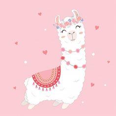 valentine's day card featuring a cute llama. - Иллюстрации и векторные рисунки - iStock<br> valentine's day card featuring a cute llama. Llama Drawing, Llama Pictures, Cute Sticker, Llama Arts, Llama Birthday, Cute Llama, Deco Design, Cute Illustration, Nursery Art