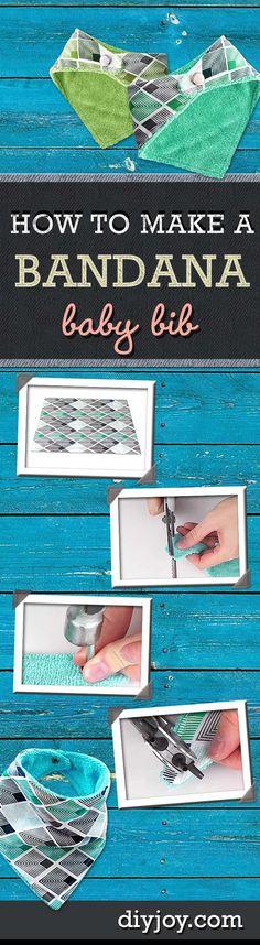 Sewing Patterns for Baby - DIY Bandana Baby Bib Tutorial at http://diyjoy.com/how-to-sew-diy-bandana-bibs