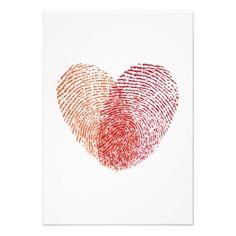 Coeur rouge d'empreinte digitale, faire-part de ma
