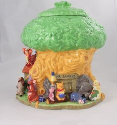 Disney's Rare Mr. Sanders Treehouse Cookie Jar- Winnie the Pooh and friends
