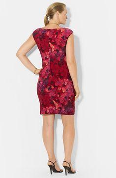 Lauren Ralph Lauren Print Cowl Neck Matte Jersey Dress (Plus Size) | Nordstrom