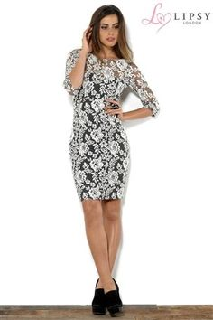 Buy Lipsy 3/4 Sleeve Jacquard Lace Shift Dress from the Next UK online shop