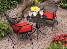 The BHG Clayton Court wrought iron Bistro Set is just right for small spaces or extra seating in the garden  #BHG@Walmart  This is great for a small space.