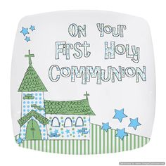 Personal Touch Gifts - Blue First Holy Communion Church Plate, £15.99 (http://personaltouchgifts.co.uk/blue-first-holy-communion-church-plate/)