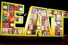"""A bar mitzvah designed by New York-based David Stark Design and Production had custom super-size signs, like an """"Eat"""" sign made out of favor. Anne Rice, David Stark, Candy Room, Eat Sign, Environmental Graphic Design, Book Letters, Work Inspiration, Bar Mitzvah, Creative Decor"""