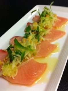 Hamachi green papaya salad with Thai bird chile vinaigrette