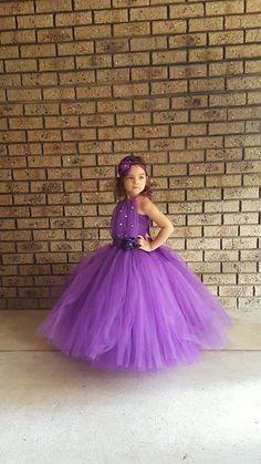 Violet avec strass robe Tutu de fille de fleur, robe de fille de fleur Tutu pourpre, peut être faite dans différentes couleurs